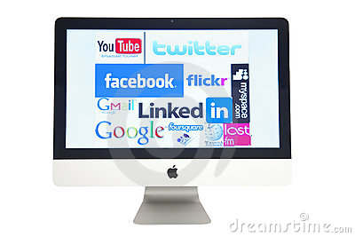 Computer with websites logos Editorial Stock Photo
