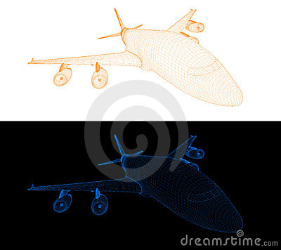 Computer wireframe of a passenger jet