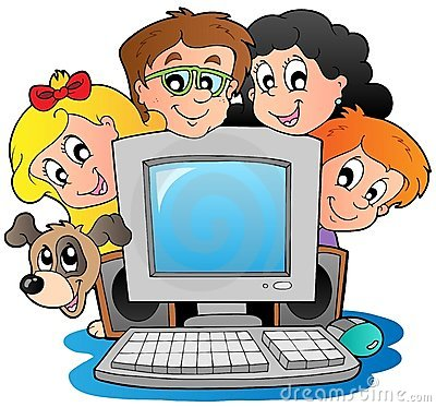 Free Computer With Cartoon Kids And Dog Stock Image - 20764751