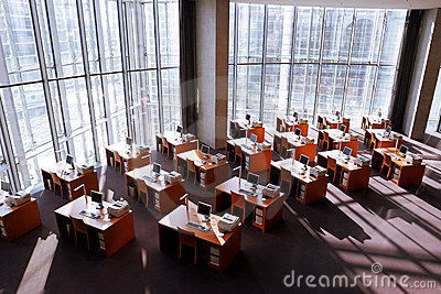 Computer workstations in a modern library