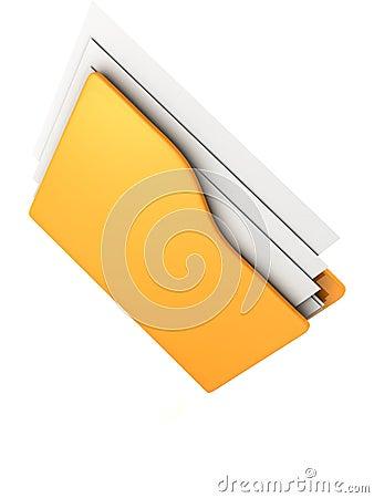 Computer yellow folder icon on white background