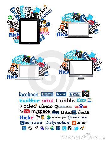 Computers with social icons Editorial Photo