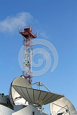 Comunicações satélites da antena parabólica
