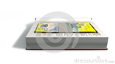 Concealed Australian Dollar Bank Notes In A Book Front