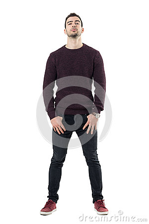 Free Conceited Macho Casual Man With Hands In Pockets And Head Titled Back. Stock Photo - 91647590