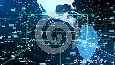 Conceito digital da tecnologia do holograma da terra da part?cula ilustração stock