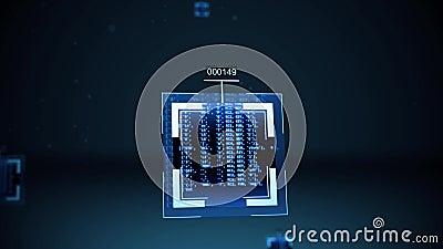 Conceito do algoritmo da inteligência artificial ou do Nanobytes - ascendente próximo ilustração stock