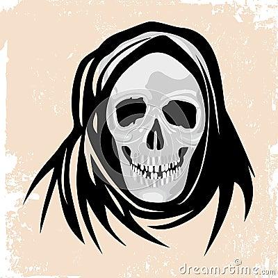 Conceito do Dia das Bruxas do monstro da morte preta.