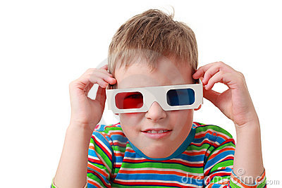 Concentrated boy in shirt and anaglyph glasses
