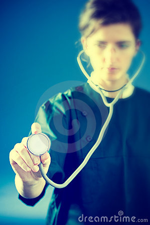 Concentrated medic with stethoscope