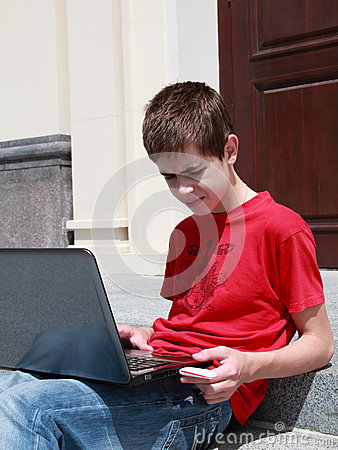 Concentrated teenager