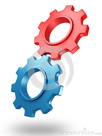 Concept 3d red and blue gears with shadow