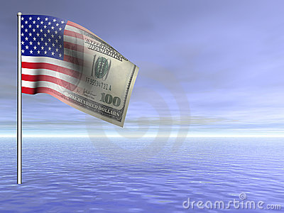 Concept American flag us dollar over ocean water