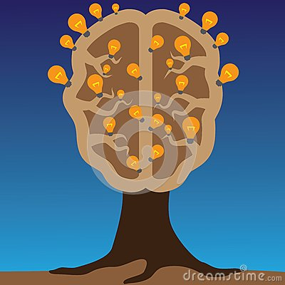 Concept of brain as a tree with bulbs as solutions