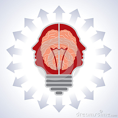 Concept of brain with bulbs as solutions to proble