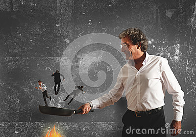 Concept of burning in the pan the competitor