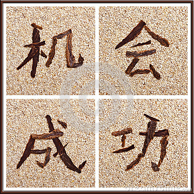 Concept Chinese characters for chance and success