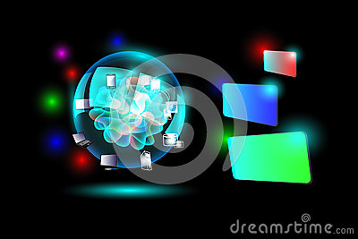 Concept of Cloud computing network with colorful label banner