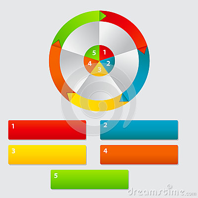 Concept of colorful circular banners with arrows