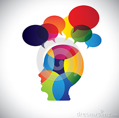 Concept of colorful face with puzzles, questions,