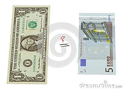 Concept compare USA dollar and European euro money