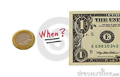 Concept compare usd dollar and euro coin money