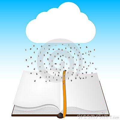 Concept computer cloud with open book.