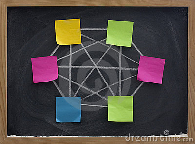 Concept of computer network on blackboard