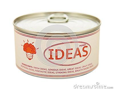 Concept of creativity. Tin can.
