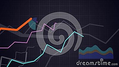 Concept de statistiques L'appareil-photo se déplace au-dessus d'élever les diagrammes et les diagrammes financiers Animation de b banque de vidéos