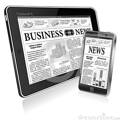 Concept - Digital News. Tablet PC with News