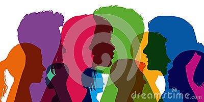 Concept of diversity, with silhouettes in colors; showing different profiles of young men and women. Stock Photo