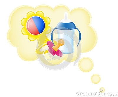 Concept of dream a baby in cloud vector illustrati