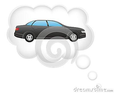 Concept of dream a car in cloud vector illustratio