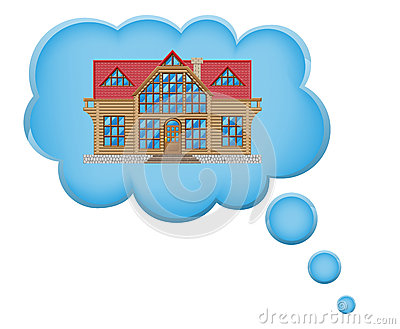 Concept of dream a house in cloud vector illustrat