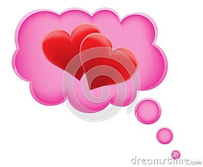 Concept of dream a love in cloud vector illustrati