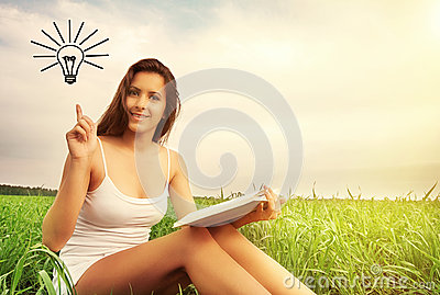 Concept of education. girl reading a book