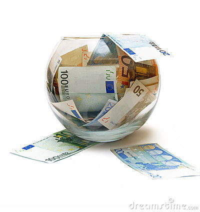 Concept euro money in glass over white
