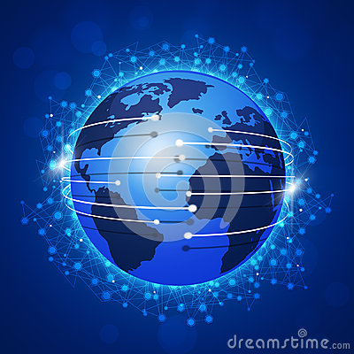 Concept Global Connections Blue Background