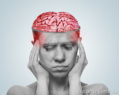 Concept of headache. open  skull, inflamed brain