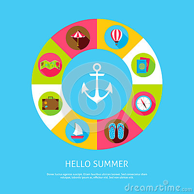 Concept Hello Summer Vector Illustration