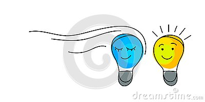 Concept of idea. Light bulbs with character faces. Vector Illustration