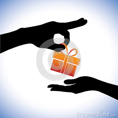 Concept illustration of person giving gift package