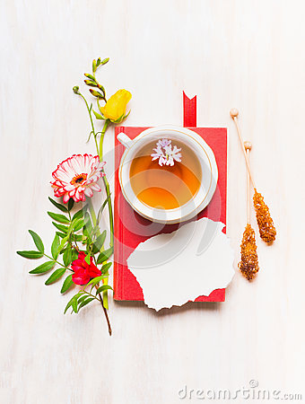 Free Concept Mother S Day Cards, A Variety Of Flowers, Laid Out Around  Book And A Cup Of Tea, Place For Text Royalty Free Stock Photo - 71615915