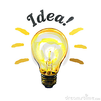 Free Concept Of Glowing Yellow Light Bulb Idea, Watercolor Painting Royalty Free Stock Photography - 71280077