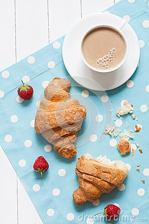 Free Concept Of Perfect Breakfast Or Lunch, Croissasnt Stock Photo - 55063400