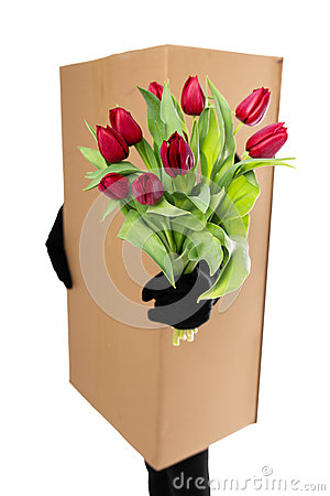 Concept: package delivery to convey a floral bouquet