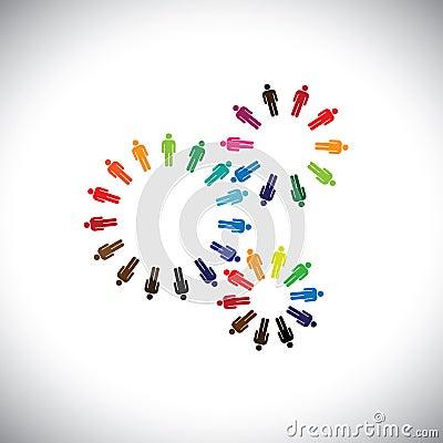 Concept of people as cogwheels representing communities & teams