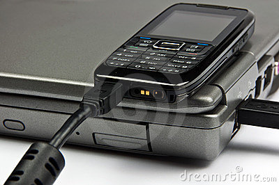 Concept phone connected to laptop via usb cable