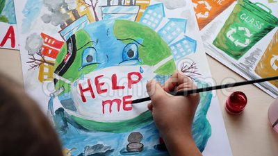 Young Girl Draws Paints Poster Environmental Problem Stock Video